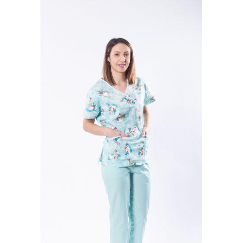 Bluza medicala din bumbac cu imprimeu oameni de zapada
