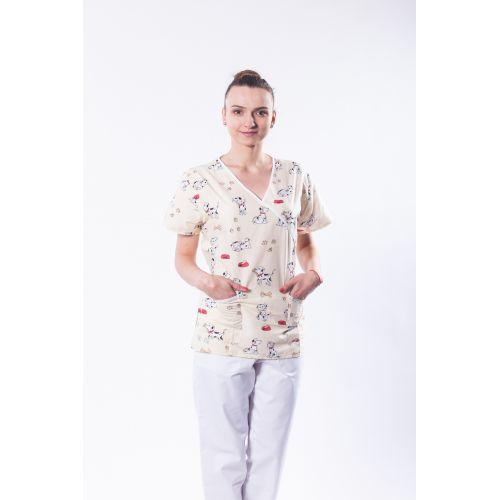 Bluza medicala din bumbac cu imprimeu 101 dalmatieni