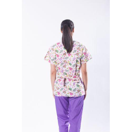 Bluza medicala din bumbac cu imprimeu broscute testoase